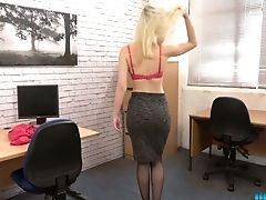 Blonde Assistant Gracie Shows Striptease In The Office