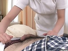 Adorable And Petite Japanese Nurse Strokes Off Dick And Inhales It On The Sofa