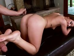 Naked Stunner With Sexy Gams Massages A Trouser Snake With Her Soft Feet