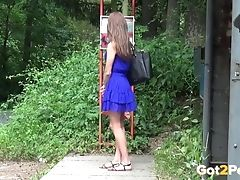 Pretty Brown-haired Is Almost Caught Pissing In A Bus Stop!