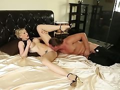 Blonde With Gigantic Jugs Finds Her Mouth Packed With Dude's Stiff Fuck Stick