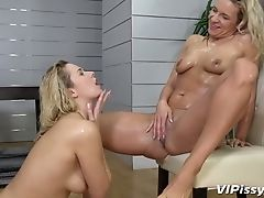 Two Gfs Nikki Fantasy And Laura Fuck Each Other And Piss