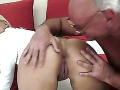 Blonde Gets Her Mouth Spread By Dudes Hard Sausage
